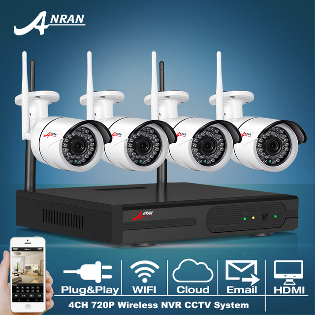 ANRAN P2P 4CH Беспроводной NVR Системы ВИДЕОНАБЛЮДЕНИЯ 720 P Ip-камеры WI-FI Водонепроницаемый ИК Ночного Видения 4 шт. Видеонаблюдения Главная Камеры Безопасности комплект