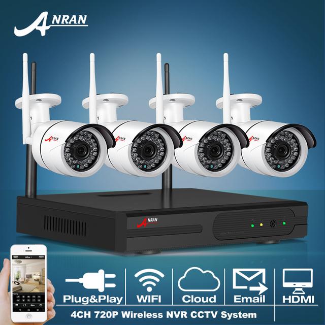 Anran p2p 4ch nvr sistema de cctv 720 p ip câmera sem fio WI-FI Visão Nocturna do IR À Prova D' Água 4 pcs Câmera de Vigilância de Segurança Em Casa Kit