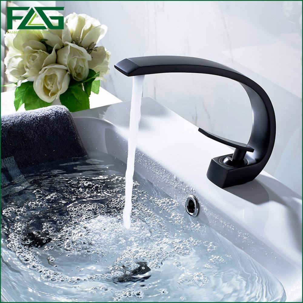 FLG European Nordic Retro Bath Mat Oil Rubbed Bronze Sink Faucet Deck  Mounted Black Bath Taps