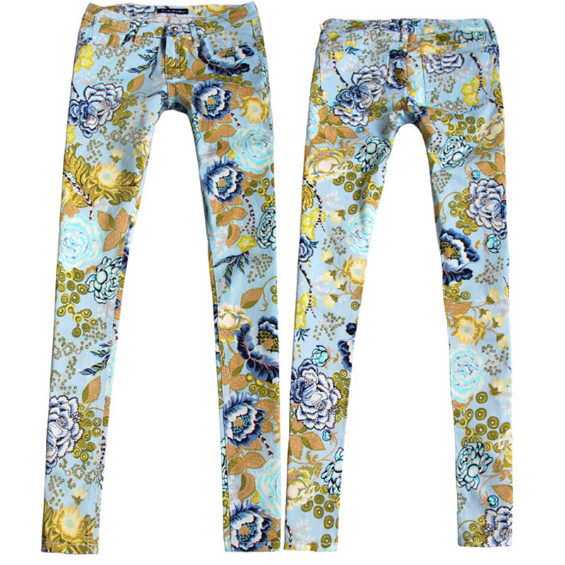 16 France USA England New Hot Stamping Process Colored Vintage Flowers Jeans pants Personality Female Youth Trousers Punk pants