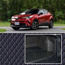 PU Leather Rear Trunk Cargo Liner Protector Mat Seat Back Cover For Toyota C-HR 2018 custom fit luxury pu leather car trunk mat cargo mat for toyota venza 2008 2017 5d cargo liner