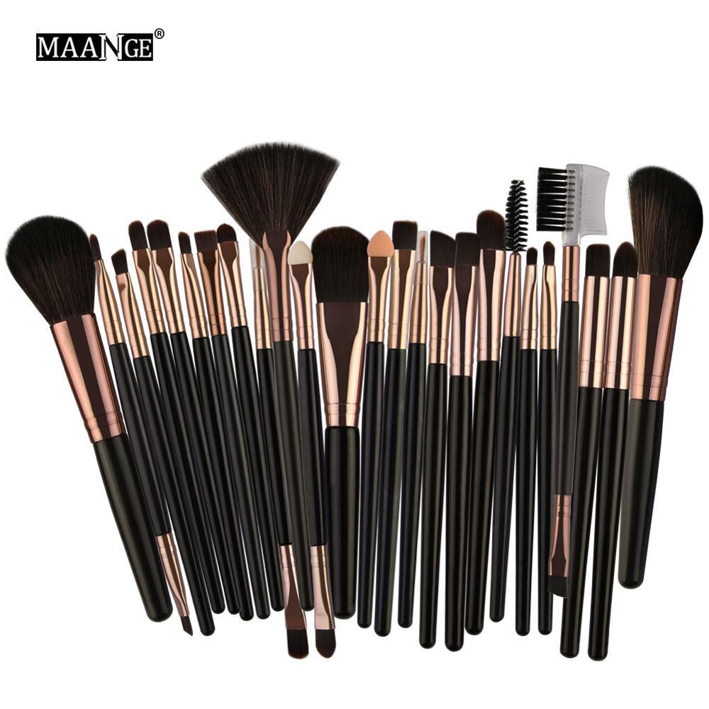 MAANGE Pro 22/25pcs Makeup Brushes Set Foundation Blending Contour Eye Shadow Eyelash Fan Face Blush Lip Cosmetics Brushes Kit