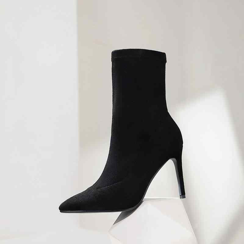 Superstar akın sivri burun yüksek topuklu kadın yarım çizmeler karışık renkler moda streç çizmeler zarif sıcak kış ayakkabı tutmak L9f1