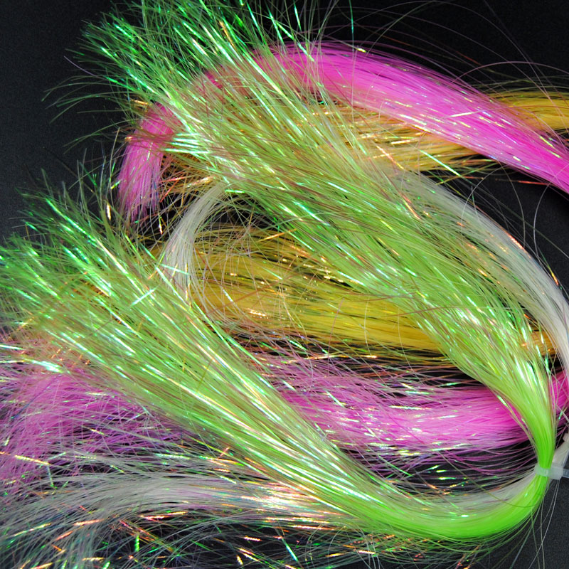 16paks Flat Disco Pearl Sparkle Flash Crystal Tinsel Fly Tying Material Saltwater Streamer Bait Fish Lure DIY Pink Yellow Green