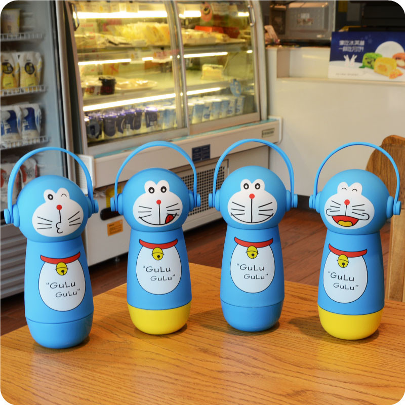 2016 Cute Original Doraemon Thermos 3D Cartoon Cat Stainless Steel Mighty Mug Vacuum Flask Christmas Gift