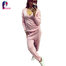 2 Pieces Set Women V-Neck Sexy Sweatshirt Tracksuit Autumn Solid Knitted Hoodies Pullover And Long Pants Set Womens Suits
