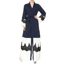 Muslim Lace up Cardigan Ladies retro robes belt bow bandage coat long sleeve  casual 1b839f1909cb