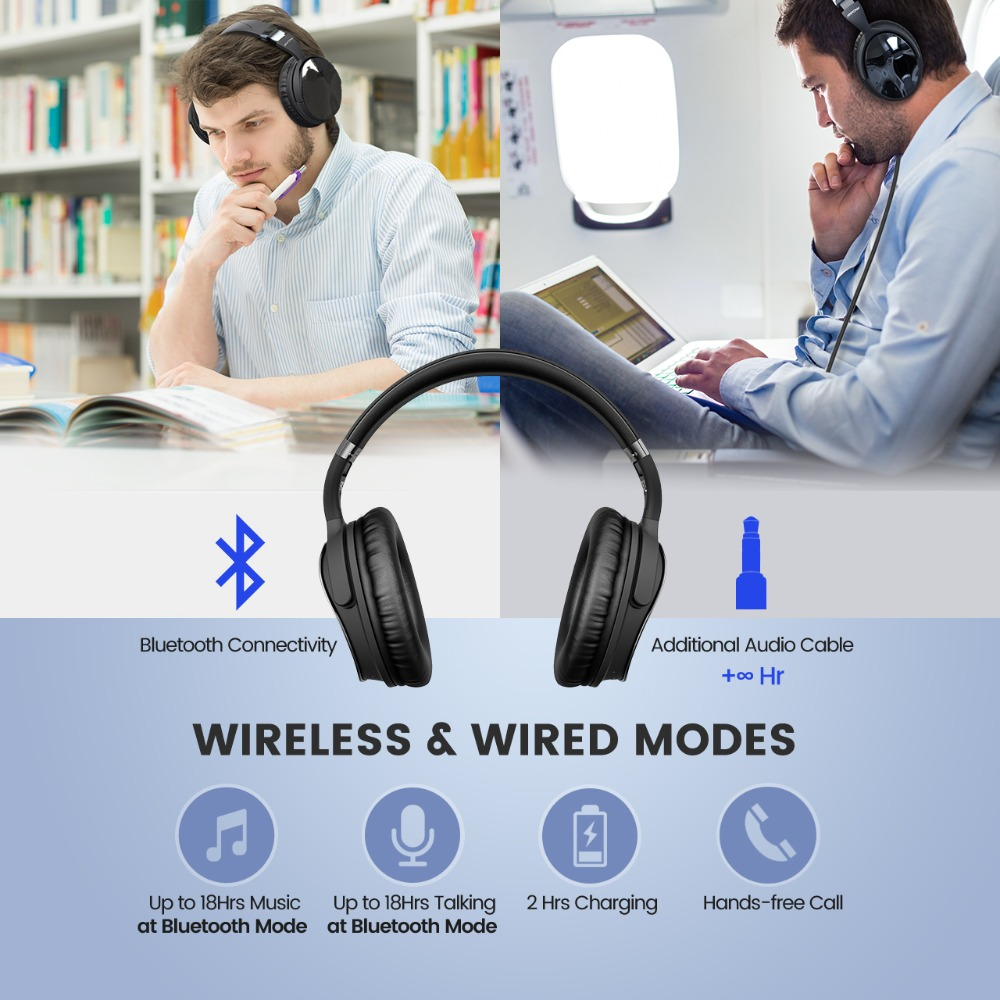 Mpow H5 Foldable Noise Cancelling Headphones Super Quality Sound HiFi Stereo Over Ear Headsets Portable Wireless Headphones-in Phone Earphones & Headphones from Consumer Electronics    3