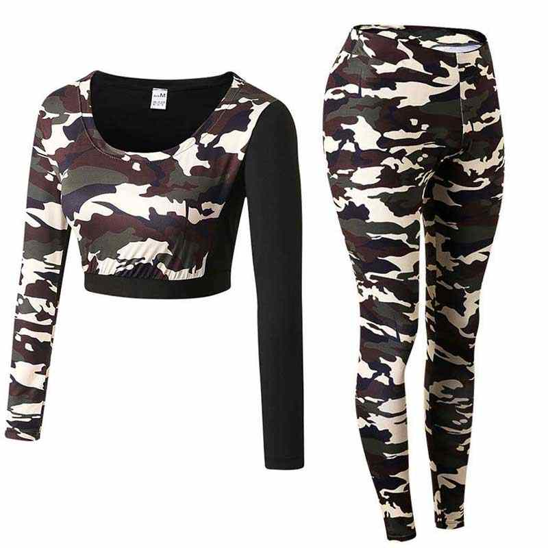 Women Pro Fitness Camouflage Leggings+Top Workout Clothing Workout Gym Sport Run Slim Yoga Set  Exercise Bodybuilding Shirt+Pant