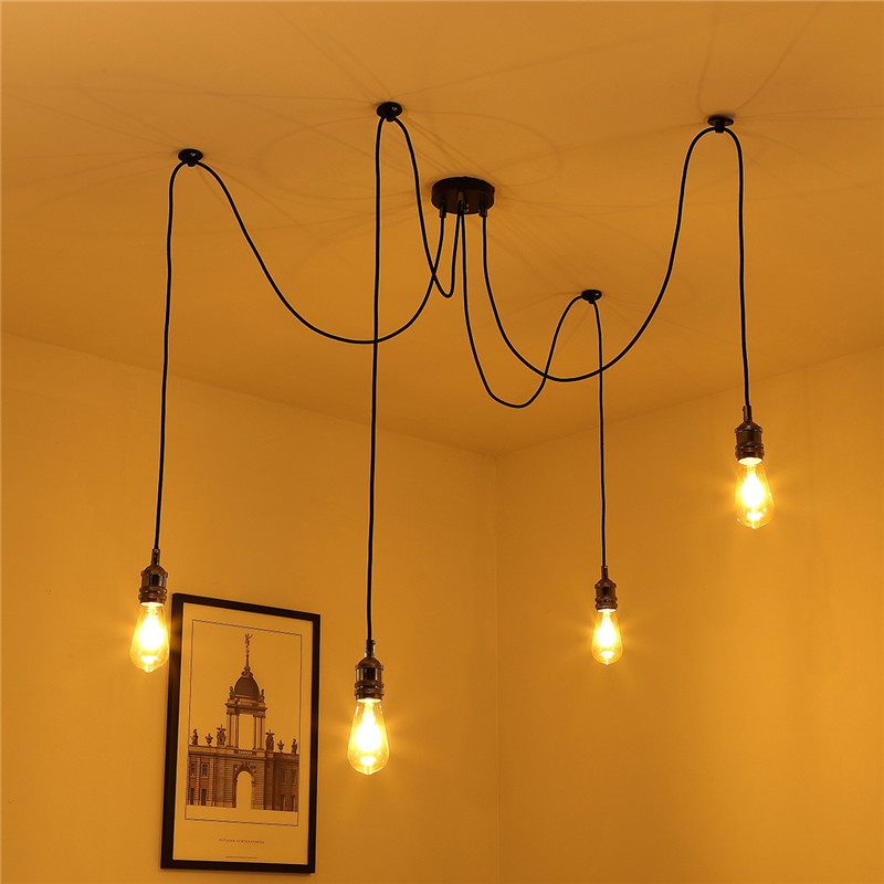 Mrosaa 1.8m Vintage Pendant Lamp E27 4 Bulbs Holder Retro Industrial Spider Ceiling Adjustable Pendant Light DIY Lamp Rope ...