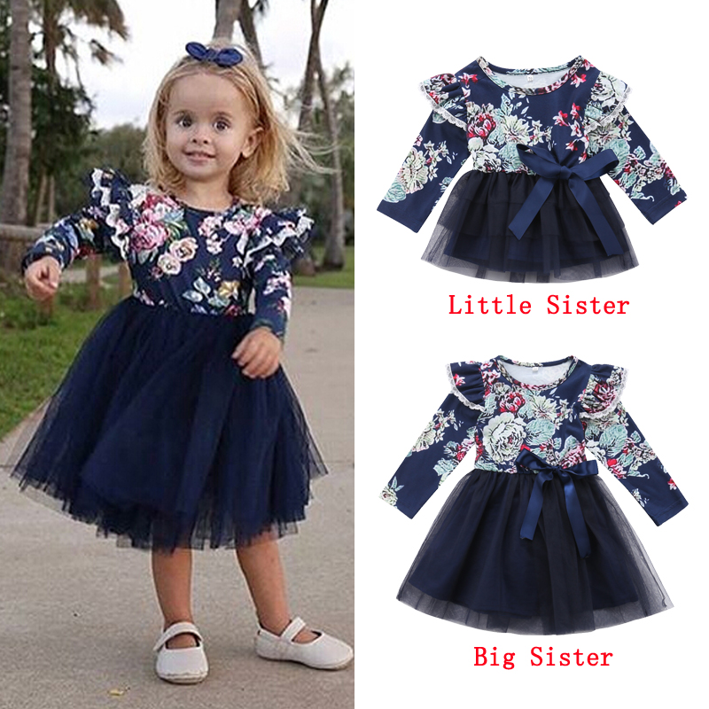 4b4a2ef2150c1 Emmababy Little/Big Sister Dresses Infant Baby Girl Floral Party Dress  Family Matching Outfits