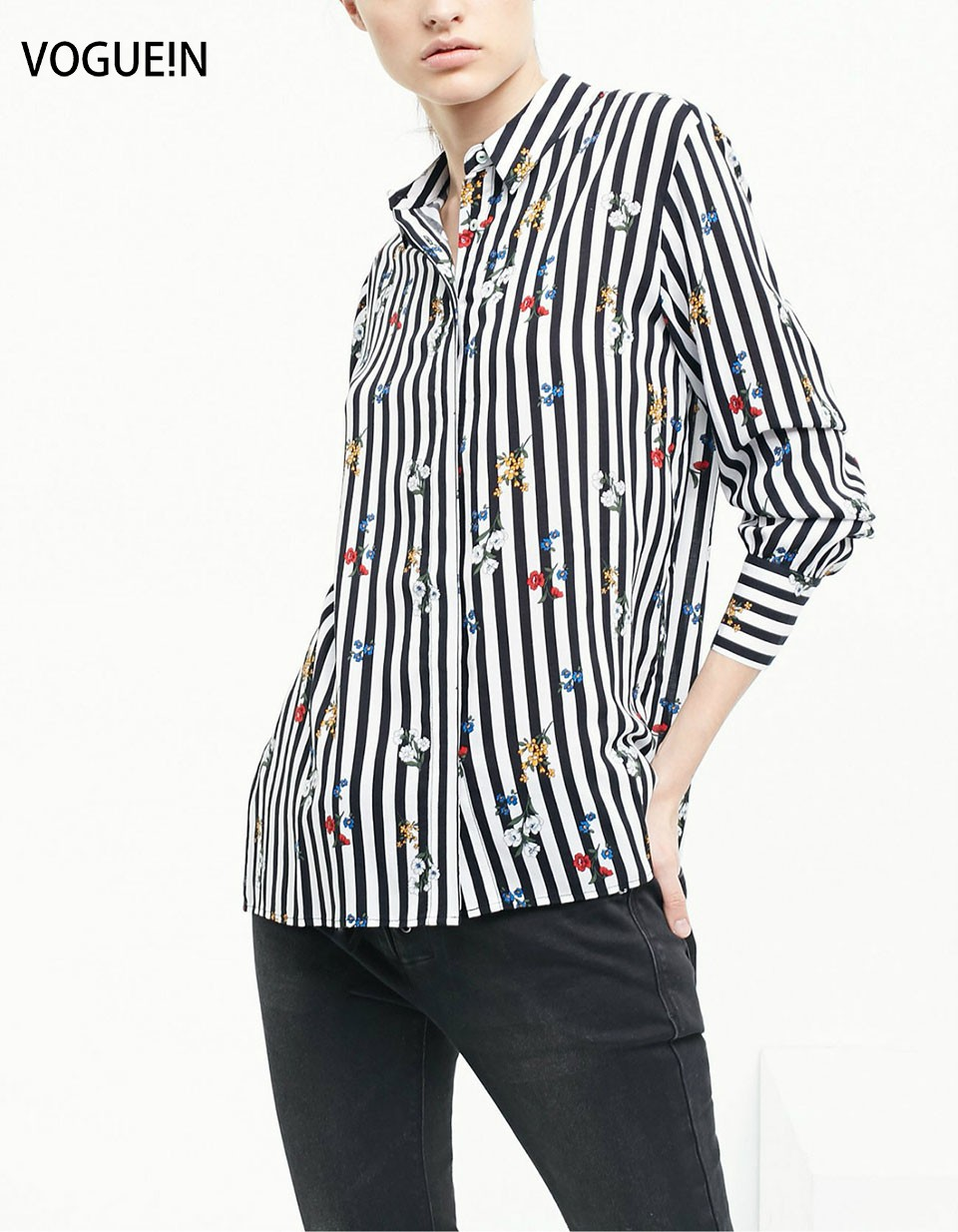 Vogue n new womens spring floral black white striped for Womens patterned button down shirts