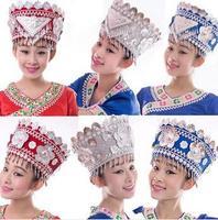 Мяо шляпа хмонг шляпа Dong Танцы головной убор хмонг Мяо изделия Китайская народная Танцы этнических меньшинств для выступления аксессуары