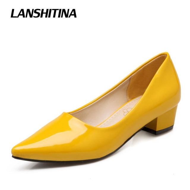 3a5b8d4d105 yellow shoes asos u0027stand outu0027 low heeled pink velvet pumps jiwracj.  Women Square Heel Pumps Thick Heel Point Toe Women Patent Leather Pump Wild  ...