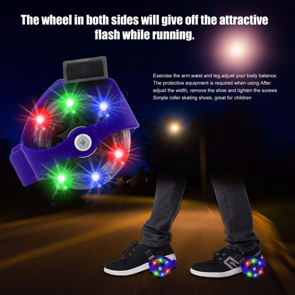 1PC Outdoor Sports  Colorful Flashing Roller Skating Shoes Small Pulley Flash Wheel Roller Skates Adjustable Roller Skating Shoe