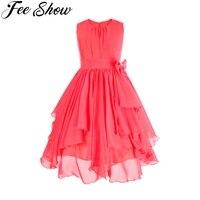 14year בחורה חמודה שיפון ילדי שמלת שמלת נשף חדש 2018 קיץ בגדי ילדי שמלת מסיבת שמלת נסיכה אדומה אבטיח
