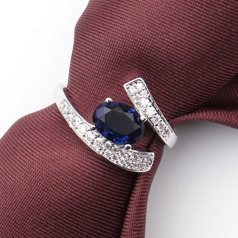 รูปทรงวงรีสีฟ้าเครื่องประดับ Cubic Zirconia ชุบเงินแฟชั่นแหวนสตรีขนาด 6 7 8/9 ยอดเยี่ยม Vintage charm เครื่องประดับ Fine