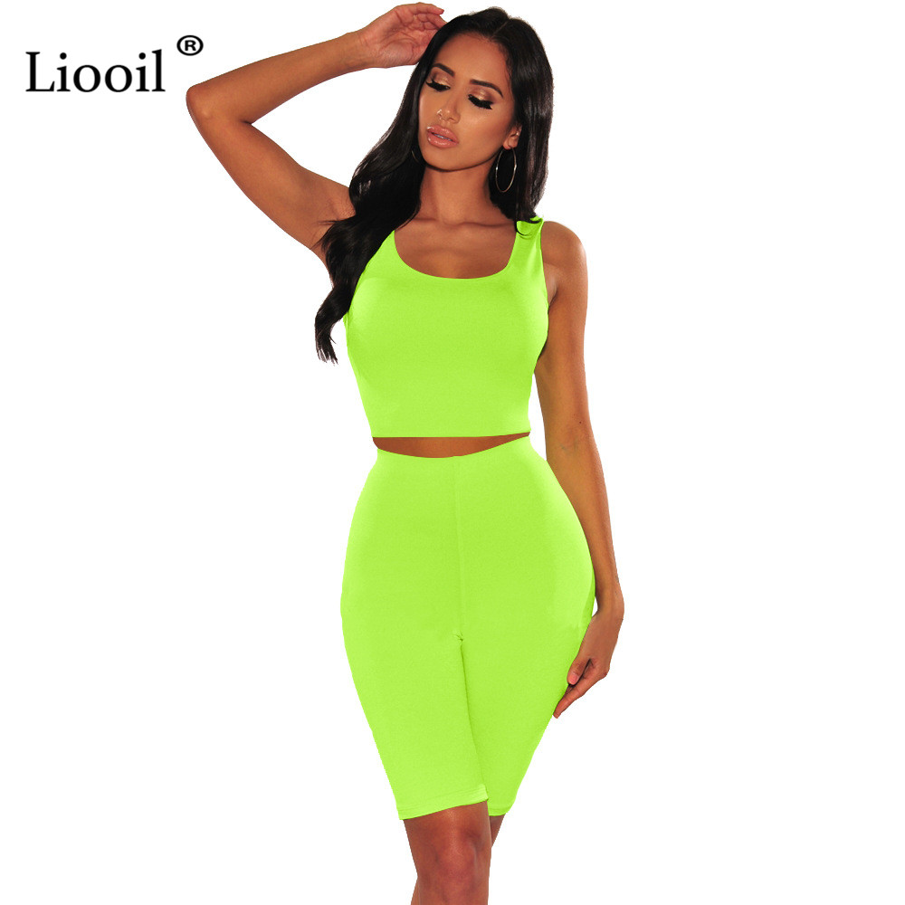 Liooil Neon Green 2 Piece Tight Set Women Bodycon Outfits Track Suits Sexy Tank Crop Top And Biker Shorts 2019 Summer Active Set
