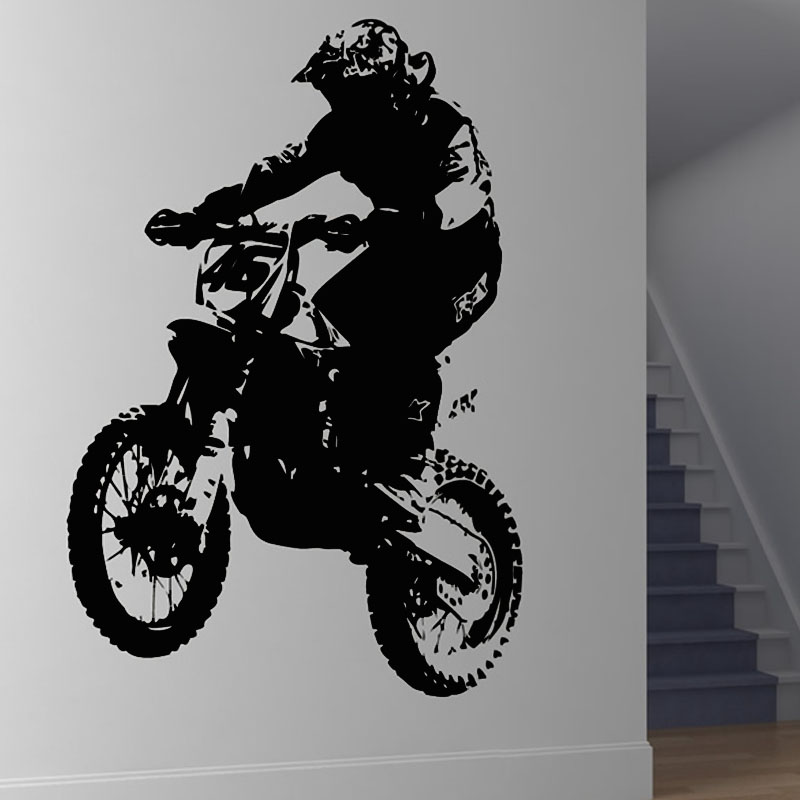 Dirt Bike Rider Motorcycle Player Silhouette Wall Sticker For