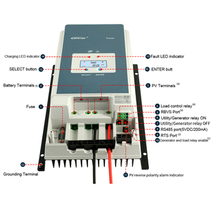 Image 3 - EPever 50A MPPT Charge Controller 48 V/36 V/24 V/12 V Max 150V 2500W Input Negative Ground Fit AGM ปิดผนึกเจลน้ำท่วมแบตเตอรี่ LCD