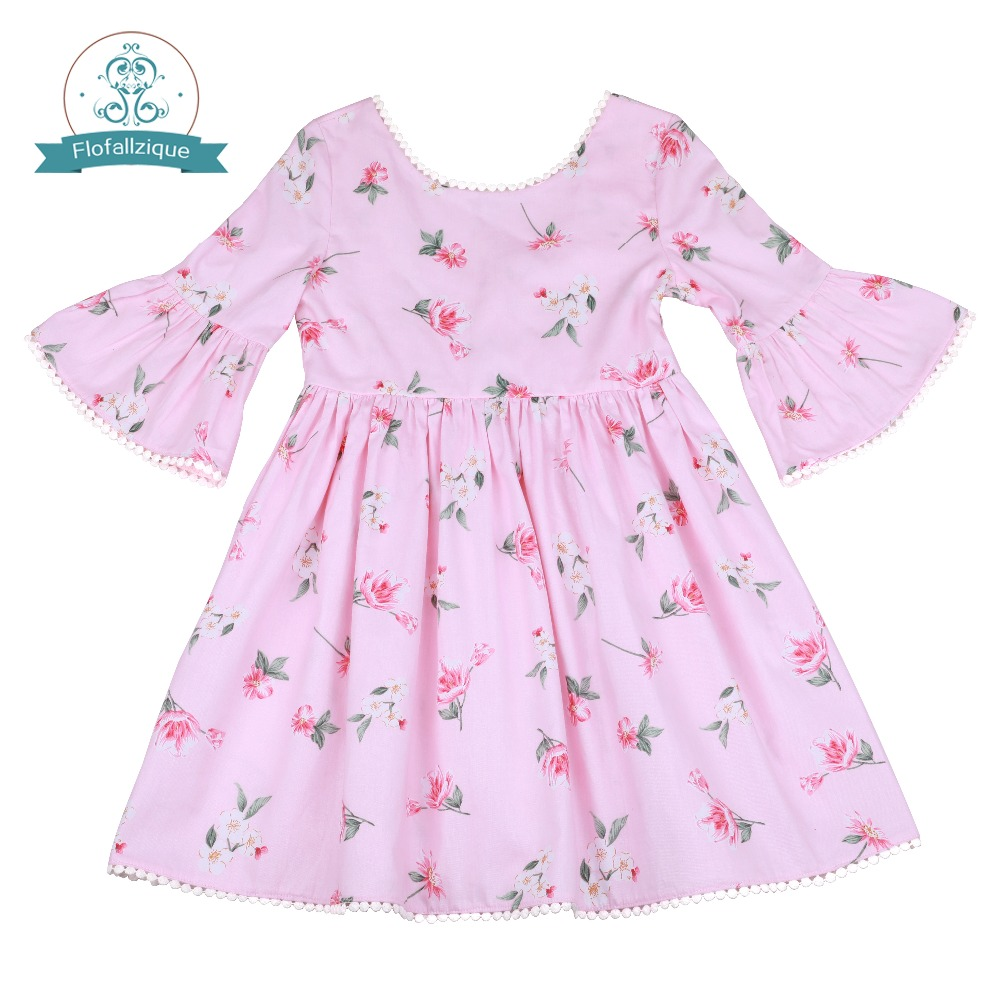 d47b3777738da Flofallzique Round neck Vintage flower toddler child clothes behind deep v  casual outdoor party baby girls dress 1-6Y