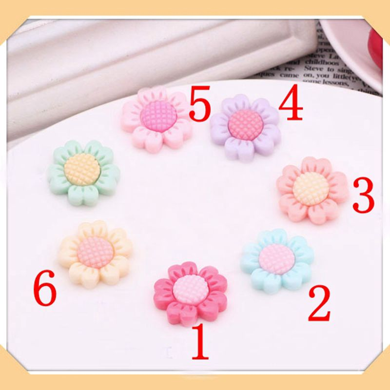New Arrival 60pcs 23mm multicolor optional Resin sunflower Jewelry accessories flat back cabochon decor DIY XMAS gift 009005004