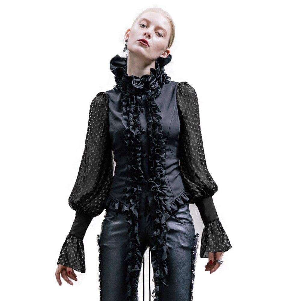Steampunk femmes chemises à manches longues en mousseline de soie Blouse 2017 noir blanc gothique mode Roses col petit haut Femme vêtements