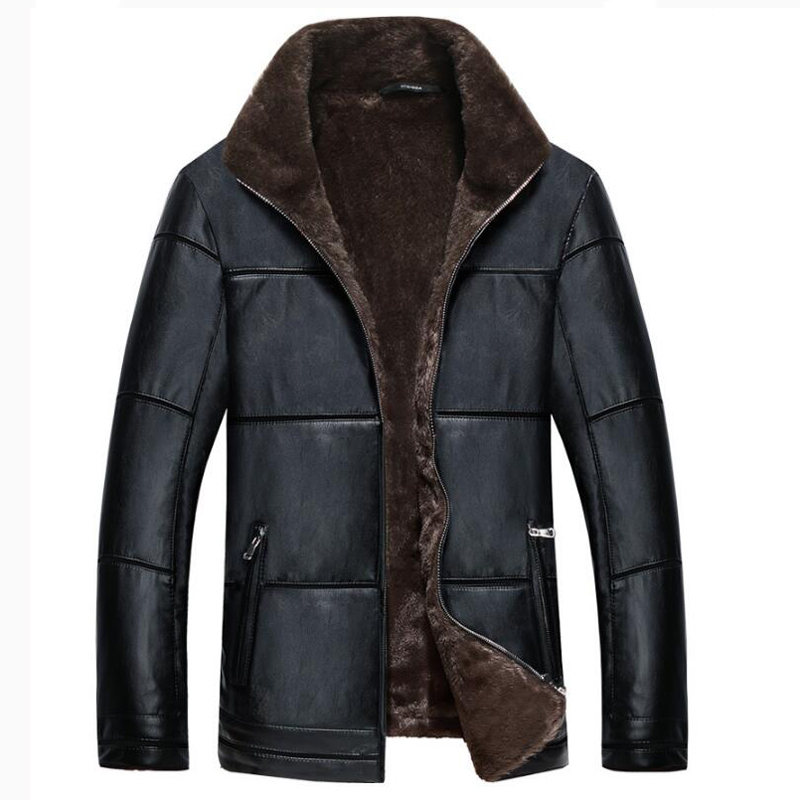 Plus size 8xl mens fur lined leather jacket and coats for Discount big and tall dress shirts