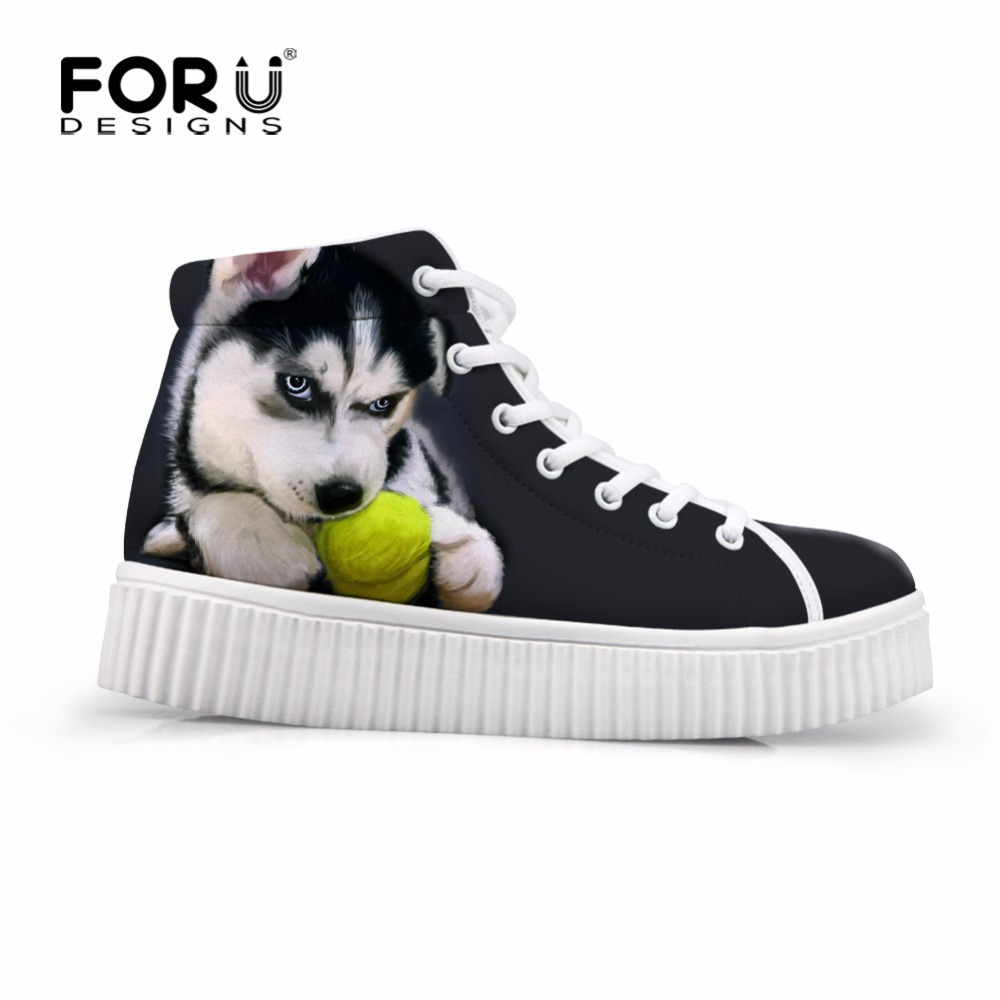 FORUDESIGNS Cute Animal Dog Women Fashion Autumn Flats Shoes Female Height Increasing Boots Casual Sneaker for Ladies Zapatos