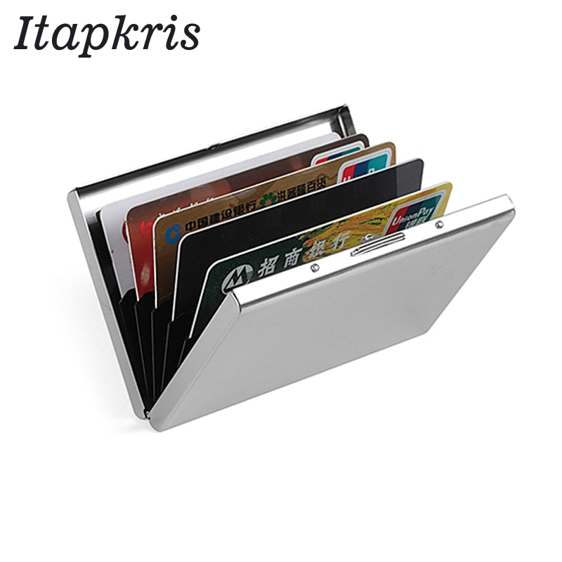 Quality Stainless Steel Credit Card Holder Men Slim Anti Protect Travel ID Cardholder Women Rfid Wallet Metal Case Porte Carte