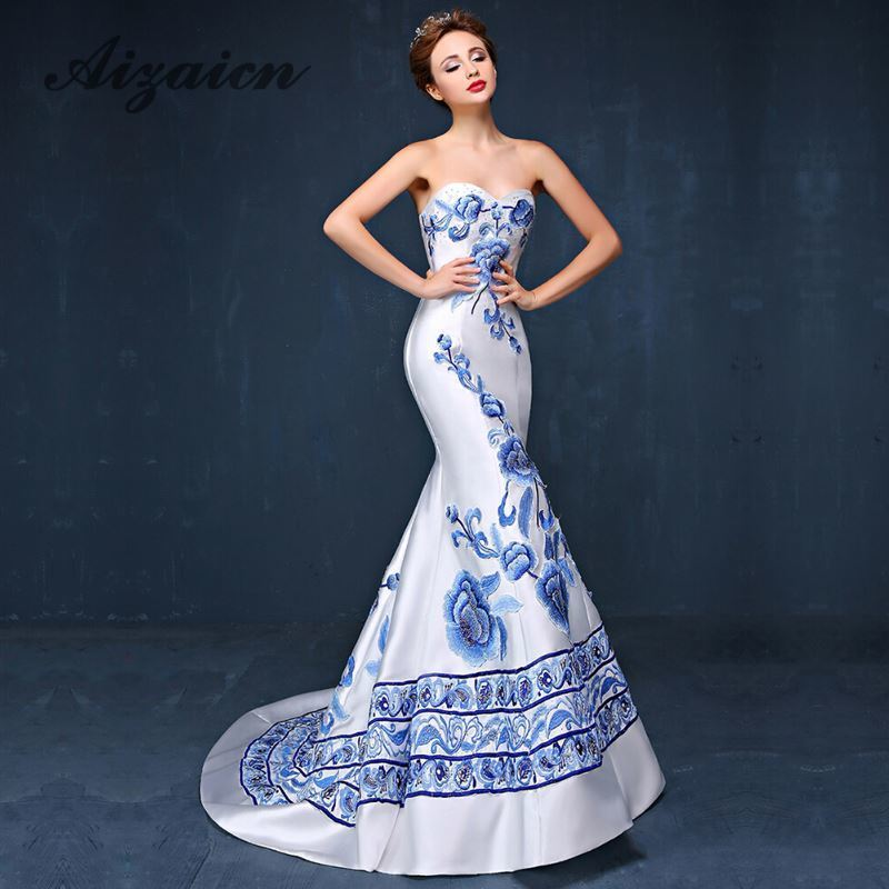 780297307 Chinese Style Blue And White Porcelain Evening Dress Mermaid Strapless  Appliques Embroidery Backless Sexy Long Cheongsam Dresses ~ Perfect Deal  July 2019