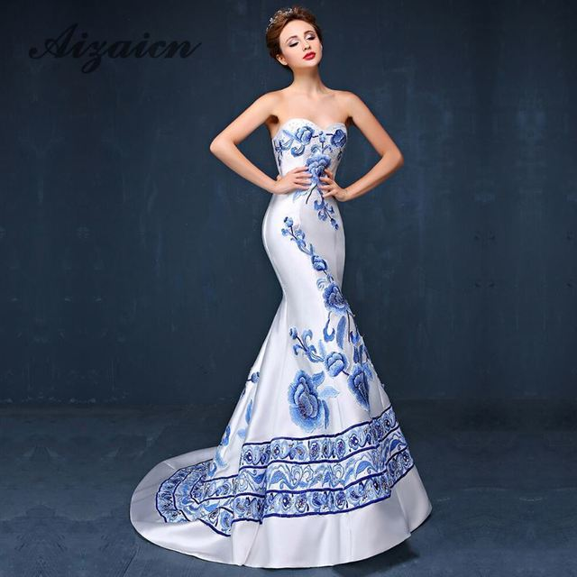 8b0df38fff8b9 Blue White Porcelain Mermaid Strapless Trailing Chinese Evening Gown  Fashion Cheongsam Oriental Style Party Dresses Custom Qipao