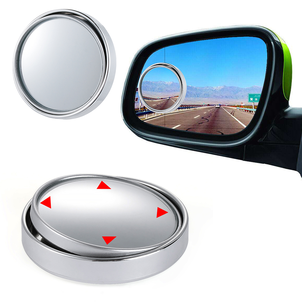 1X Car Wide Angle Round Convex Blind Spot Mirror For Parking Rear View Silver FO
