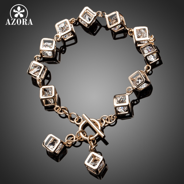 AZORA מותג עיצוב זהב צבע Stellux האוסטרי קריסטל 12 יחידות קוביית קסם צמיד TS0023