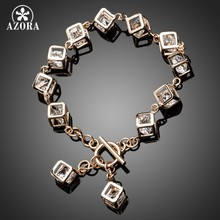 AZORA Brand Design Gold Color Stellux Austrian Crystal 12pcs Cube Charm Bracelet TS0023(China)