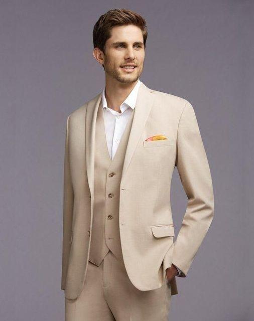 Dernières Manteau Pantalon Designs Beige Hommes De Mariage Costumes Veste  Mince Fit 3 Pièce Smoking Personnalisé 722a84e17bc