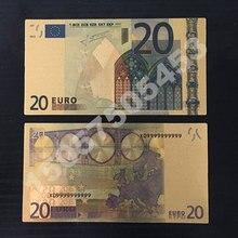10 шт. патриотизм сувенирные банкноты 24 К Золото Банкноты евро валюта 20 евро Реплика Позолоченные банкноты коллекция денег