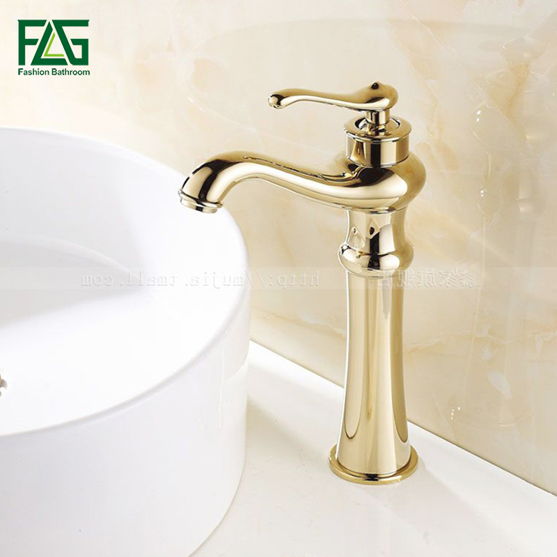 FLG New Design Bathroom basin faucets single hole Deck Mounted Cold and Hot Water Tap Solid Brass Gold Plated Sink Mixer M087 micoe hot and cold water basin faucet mixer single handle single hole modern style chrome tap square multi function m hc203