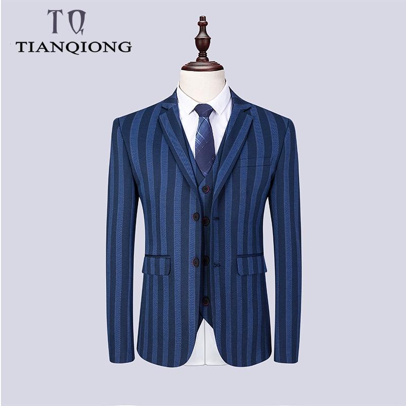 Hommes costumes 2019 marque vêtements rayure hommes costume formel bleu Normcore hommes costumes mariage marié Blazer avec pantalon hommes 3 pièces costume-in Costumes from Vêtements homme    2