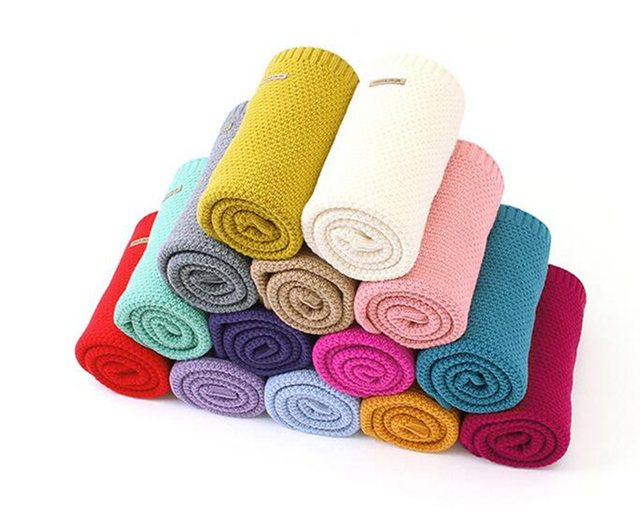 MOTOHOOD Kids Blanket Casual Baby Blankets Knitted Newborn Swaddle Wrap Soft Toddler Sofa Crib Quilt Baby Stroller Blanket (7)