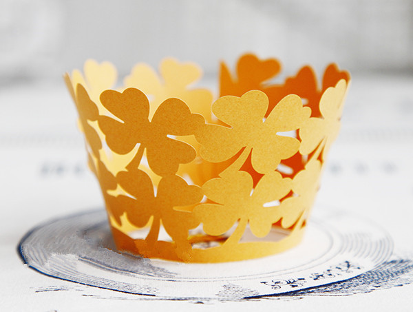Free Shipping orange four leaf clover cupcake wrappers decorations for wedding, muffin cake cup baking cups cases wrapper