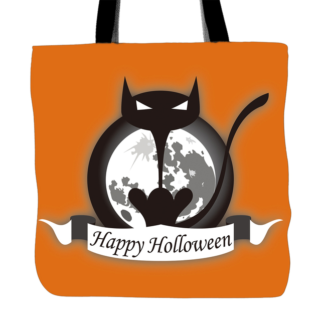 Candies Storage Tote Bag For Happy Halloween Day Black Cat Printing  Convenience Women Shoulder Bags White