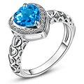 Prata Banhado A Anéis de Casamento para As Mulheres Jóias de Noivado De Amor Coração Londres Topázio Azul e Branco CZ Diamante Moda Banda