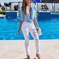 Moda Jeans Rasgado para As Mulheres 2016 Preto Branco De Cintura Alta Jeans Skinny Buracos Namorado ElasticTrousers de Corpo Inteiro Calças Lápis