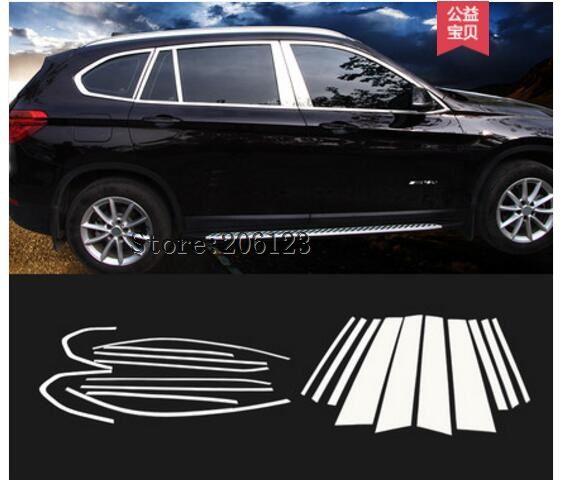 20 pièces voiture porte pleine fenêtre cadre seuil moulage revêtement d'habillage pour 2016 2017 2018 BMW X1 F48 standard empattement en alliage d'aluminium mat