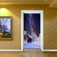 2 folhas/pcs 3D Árvore de Natal Porta Retrato DIY Cenário Nevado em noite Mural Poster Bonito Adesivo De Parede para o Café Loja de Decoração Da Sua Casa