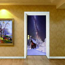 2 sheets/pcs  Christmas Tree Door Picture DIY Snowy Scenery in Night Mural Poster Pretty Wall Sticker for Cafe Shop Home Decor