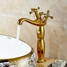 Dual Cross Handles Countertop Bathroom Sink Mixer Faucet Deck Mount Washbasin Taps Deck Mount