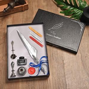 Image 3 - Cor de ouro pena caneta fonte do vintage caixa de presente conjunto estudante escrita material de escritório dip água caligrafia caneta fonte 5