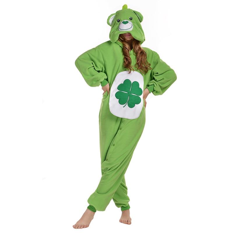 Halloween Carnival Costume Green Clover Care Bear Onesie Pajamas Costume Onesie Unisex Adult One-piece Sleepwear Tops Party